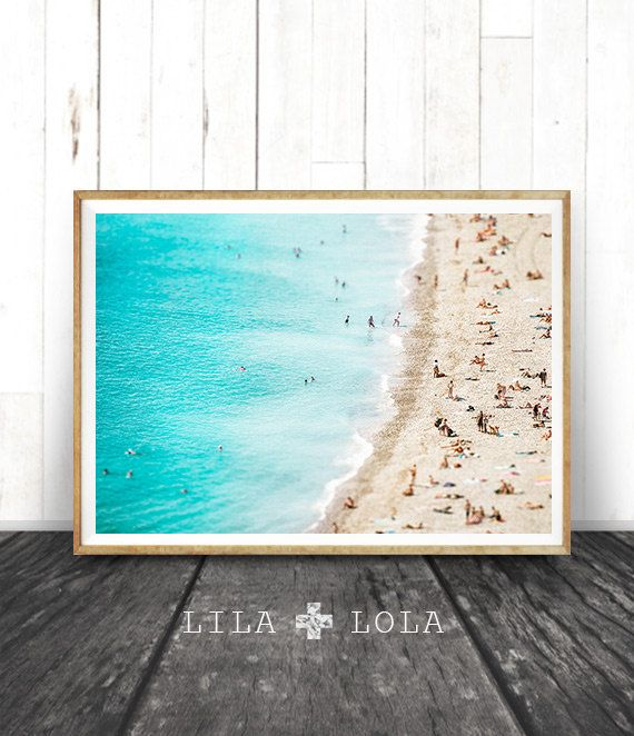 Modern Wall Art Beach Coastal Decor Photography Large Ocean Print Printable Poster Digital People On The
