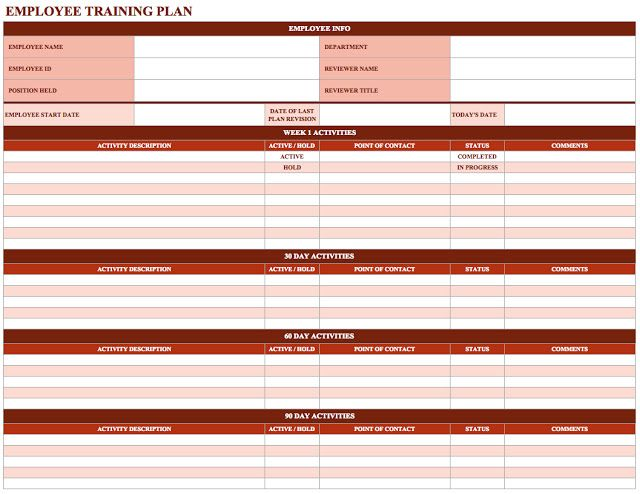 New Employee Training Schedule Template  Employee Training
