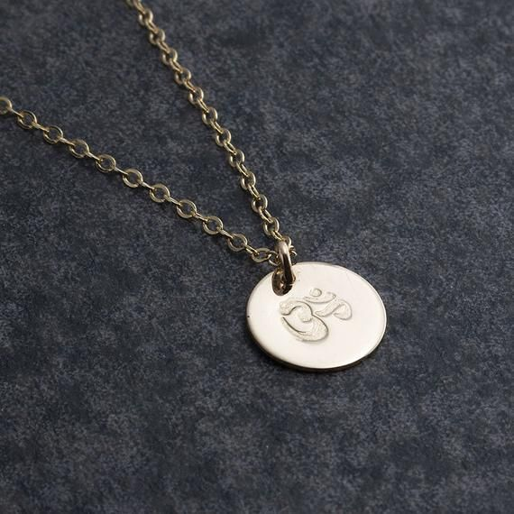 Photo of Gold Om Charm Necklace, Om Gold Charm Pendant, Lariat Necklace, Minimalist Jewelry, Dainty Jewelry,