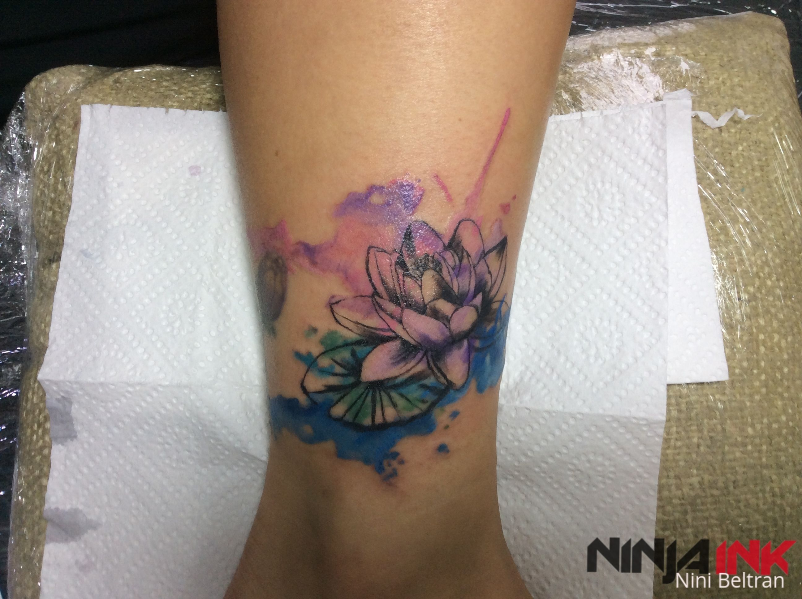 Watercolor lotus by nini beltran ninja ink tattoo hanoi for Vietnam tattoo ideas