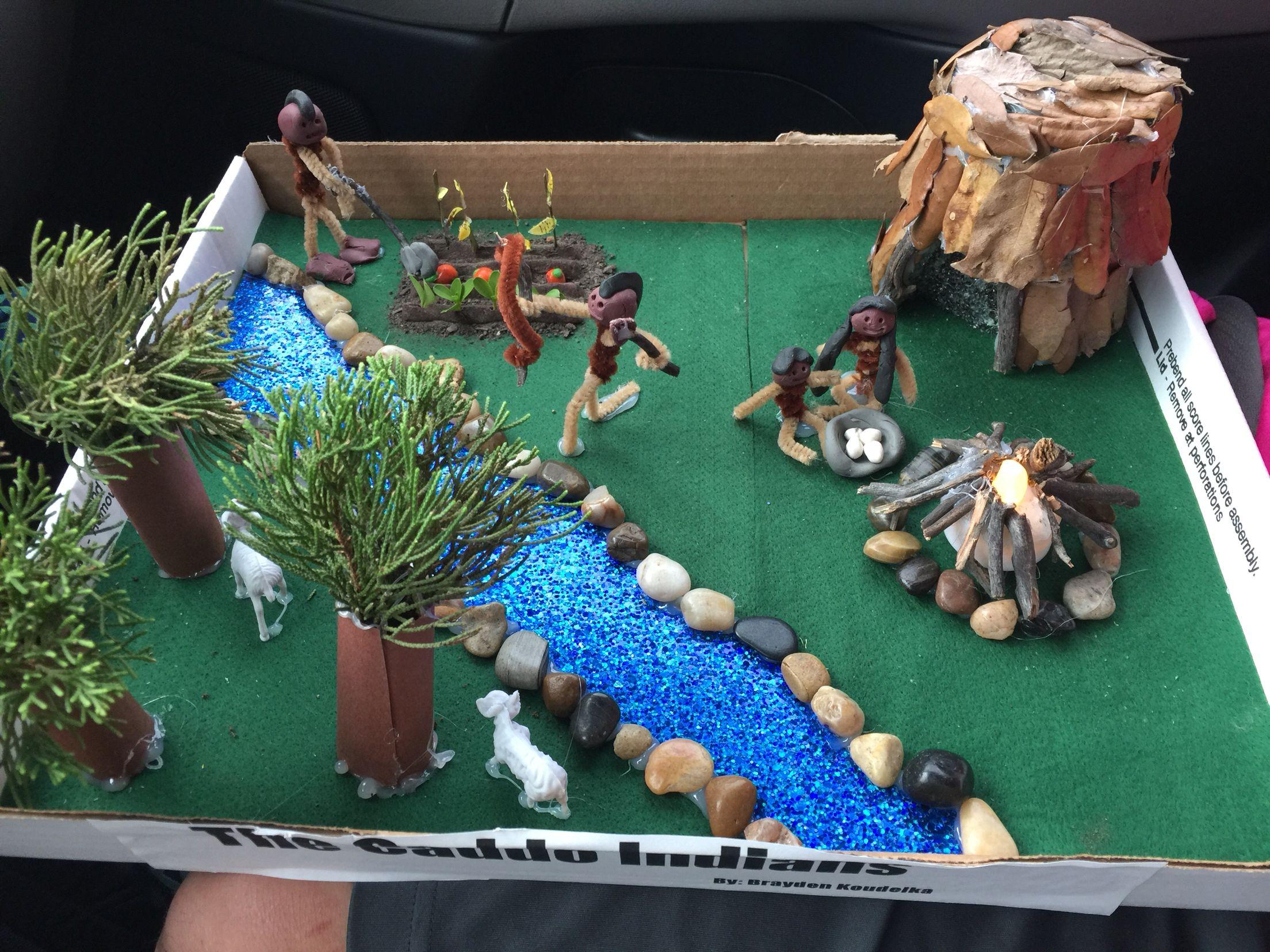 Kids Diorama With Details: Caddo Indian Village Diorama Project- What Brayden