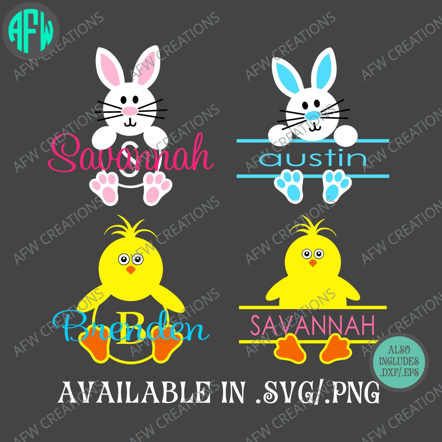 Split Amp Monogram Bunny And Chick Package Svg Dxf Eps