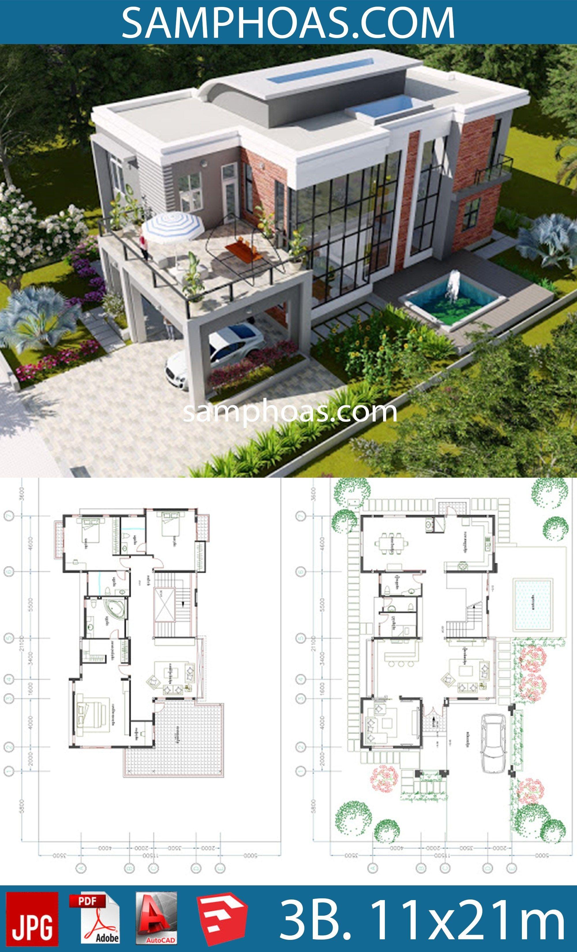 3 Bedroom Modern Villa Design Size 11 5x21 1m Samphoas Plan Architecture Model House Modern Villa Design Sims House Plans