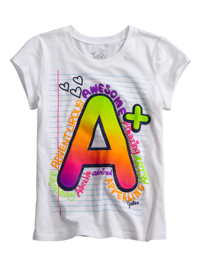 A notebook graphic tee from justice kids autumns back for Graphic t shirts for kids