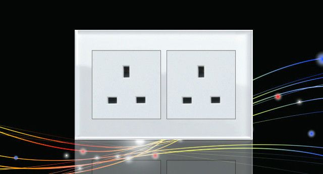 New Glass Switch 2 Gang 13a Single Electrical Plug Socket White Unswitched Plug Socket Sockets Glass