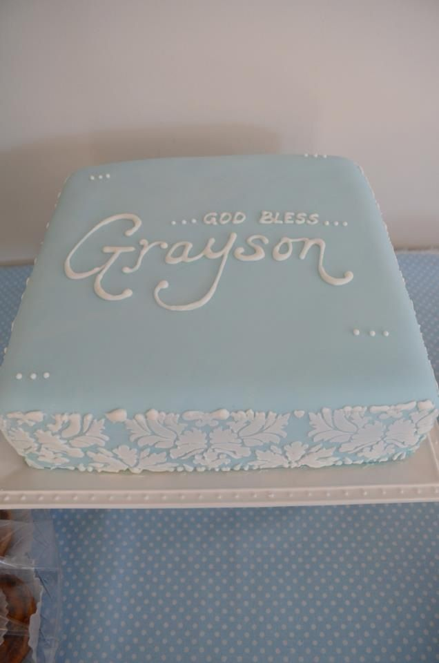 Baptism Cake Blue With White Lettering Baptism Cakes Baptism