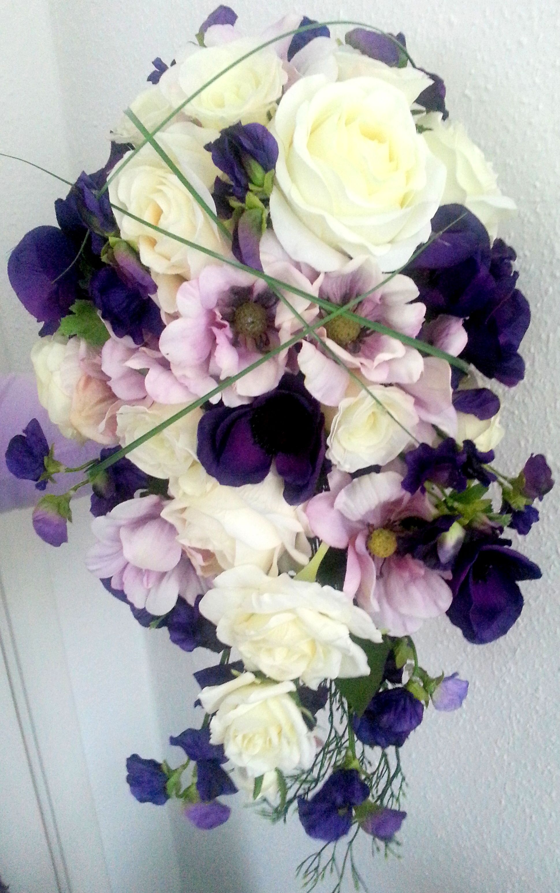 Silk bridal bouquet shower style with roses anemones and sweet silk bridal bouquet shower style with roses anemones and sweet peas in purple mightylinksfo Gallery