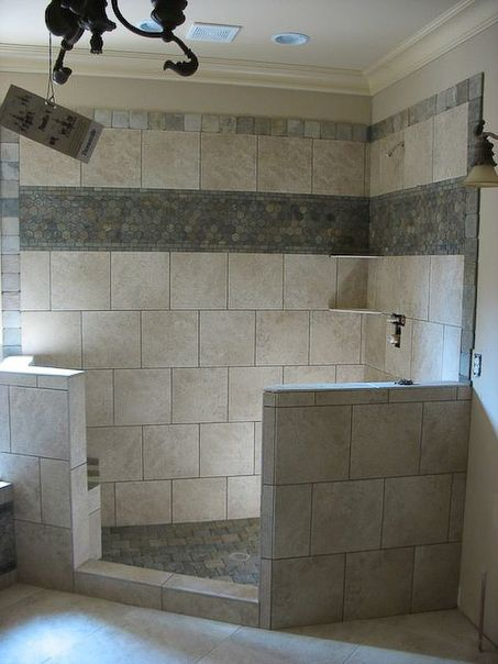 Bathroom Shower Tile Idea Top And Middle Borders