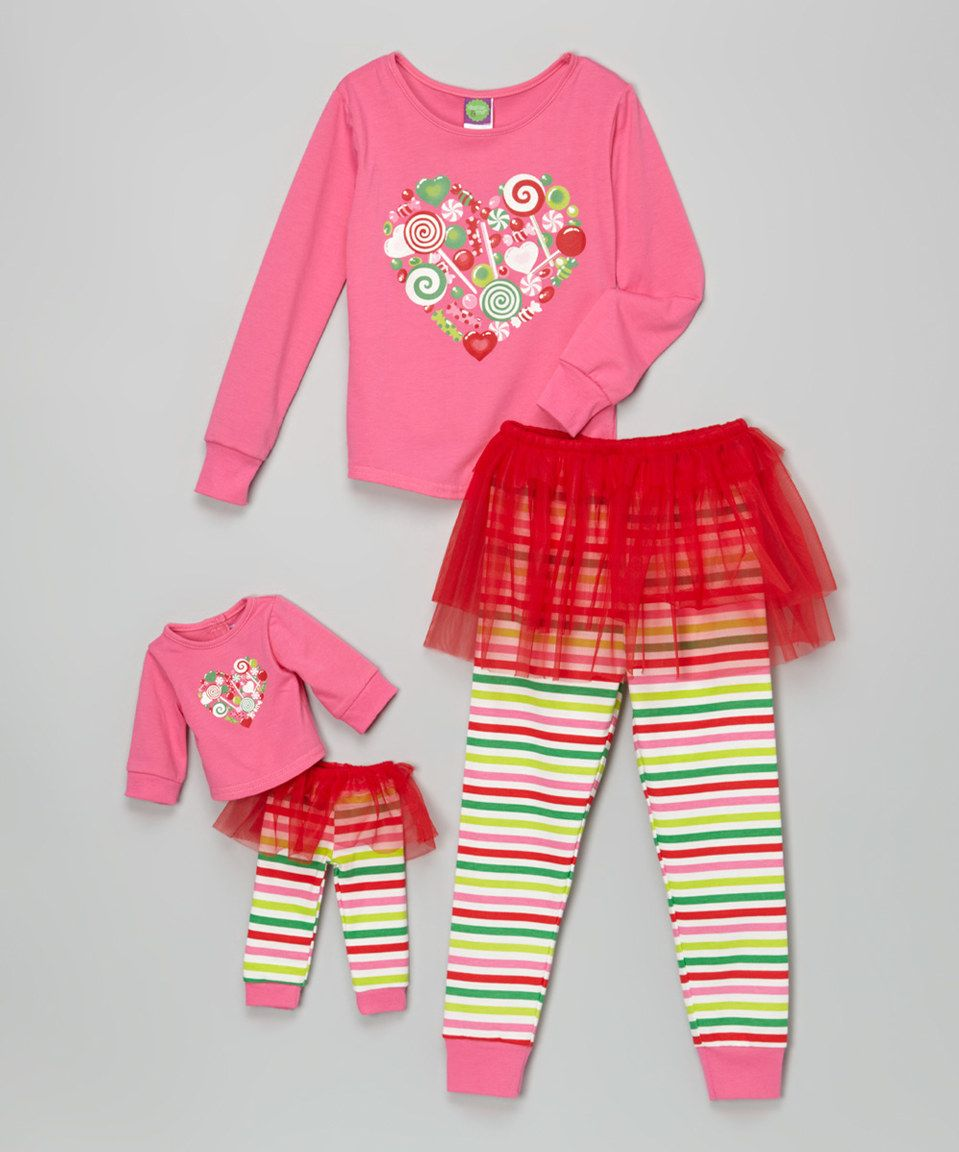 342e2583f477 Dollie   Me Pink Candy Heart Tutu Pajama Set   Doll Outfit - Toddler ...