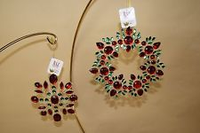Raz Imports Jeweled Wreath & Pendent Christmas Ornaments, set of 3