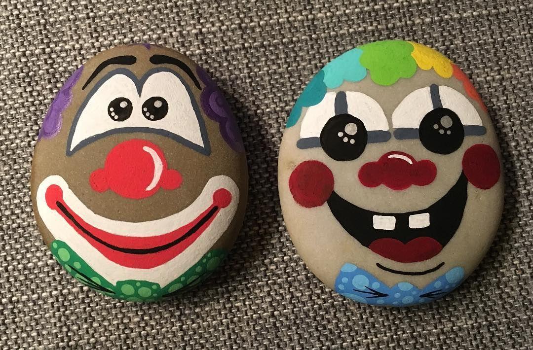 Clown Rocks Painted Rocks Kids Rock Painting Designs Painted Rocks
