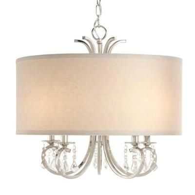 home decorators collection 5 light polished nickel drum pendant chandelier with beads 19715 - Home Decorators Collection Lighting