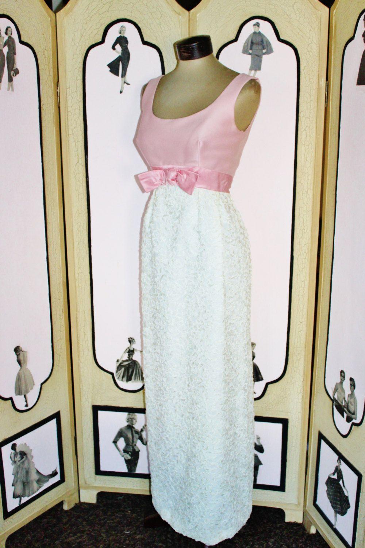 Vintage 1960 S Formal Dress In Pink And White Ribbon From I Magnin Vintage Dresses 1960s Vintage Evening Gowns Dresses [ 1500 x 1000 Pixel ]