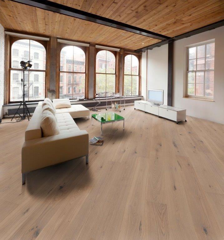Parkett Ambiente Eiche vario gebürstet perlgrau geölt Boden Holz