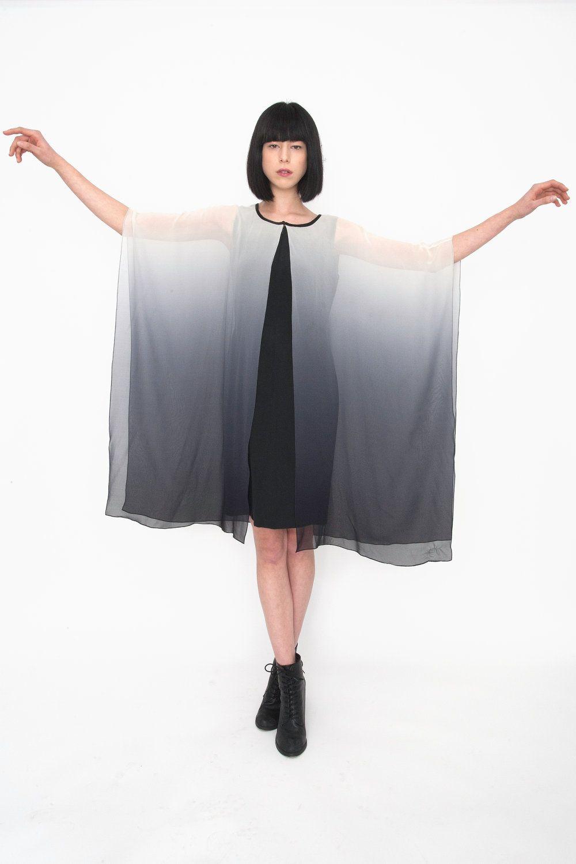 Vintage silk grey ombré draped dress by amuletboutique on etsy