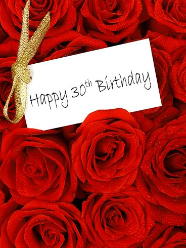 Red Rose Happy 30th Birthday Card Birthday Greeting Cards By Davia Happy 30th Birthday 30th Birthday Cards Birthday Greeting Cards