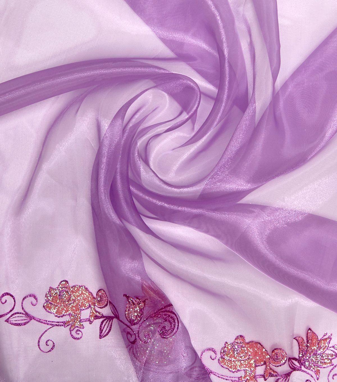 Disney Rapunzel Organza Fabric Purple Glitter Border
