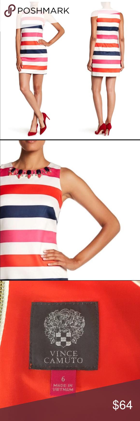 Vince Camuto Jeweled Neckline Striped Dress Striped Dress Bold Stripes Cool Style