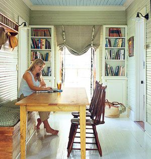 White Wood Floors, Green Beadboard Walls, Blue Beadboard Ceiling