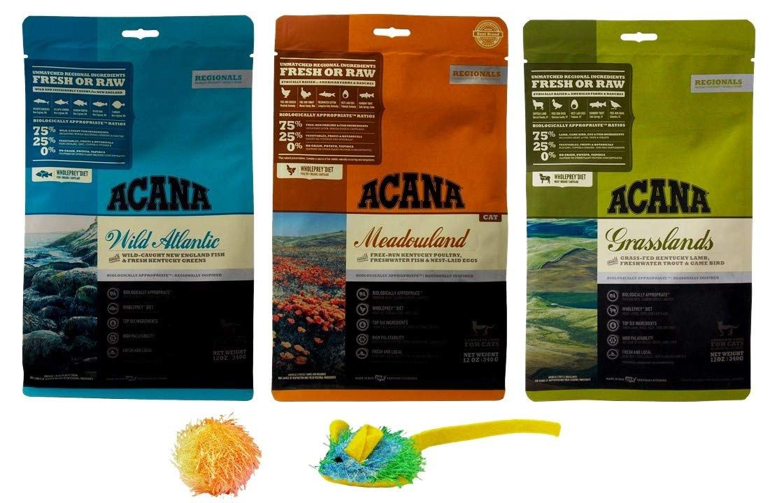 Acana Natural Dry Variety Adult Cat Food Kibble 3 Flavor Sampler