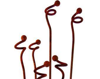 Metal Flowers Garden Decor Metal Sculpture Set Of 3 5 or 10 | Etsy