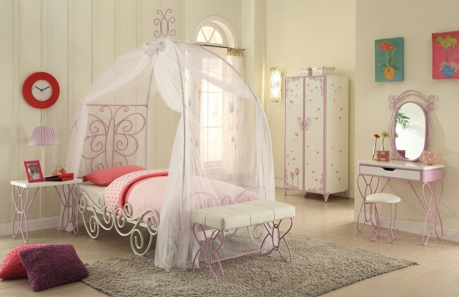 ACME PRIYA 6PCS SILVER MATEL GIRL FULL CANOPY BEDROOM SET ...