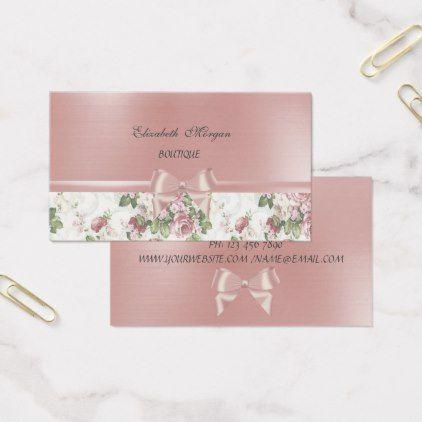 Elegant chic luxury flowers pink ribbon bow business card elegant chic luxury flowers pink ribbon bow business card elegant chic card wedding and weddings colourmoves