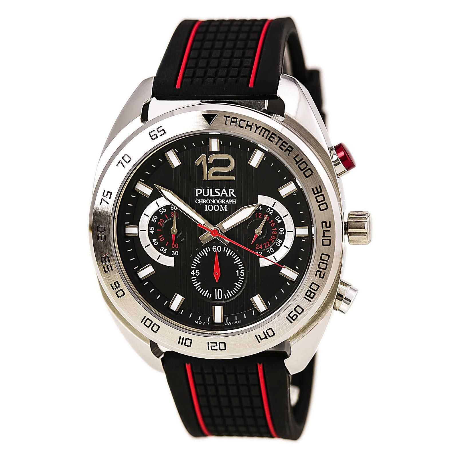 Pulsar PT3633 Men's On The Go Black Dial Black & Red Silicone Strap Chronograph Watch