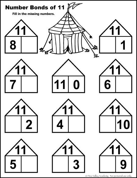 Number Bonds To 11 Free Math Worksheets Matemtica Pinterest
