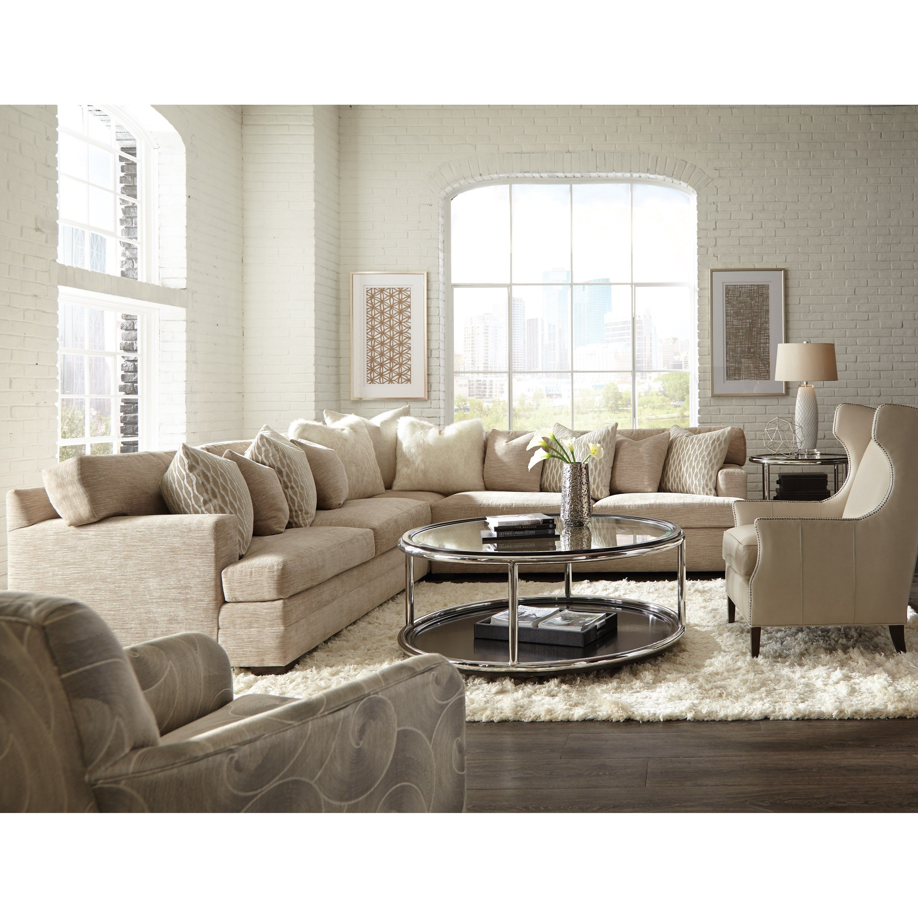 7100 Contemporary L Shape Sectional With Track Arms And Boxed Back