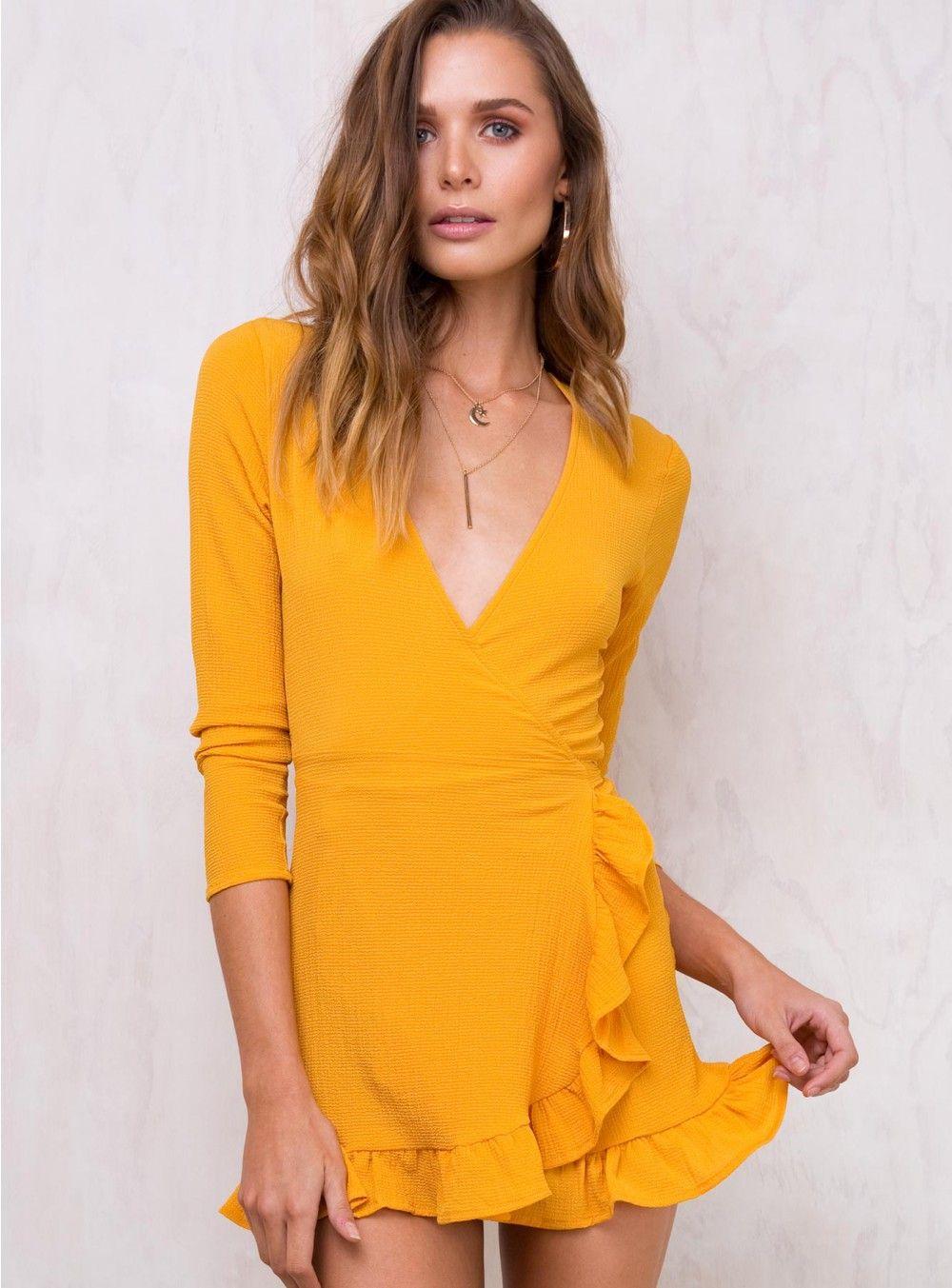 1fdd8bf88d64 Honeyduke Ruffle Wrap Dress   clothes   Dresses, Wrap dress, Frilly ...