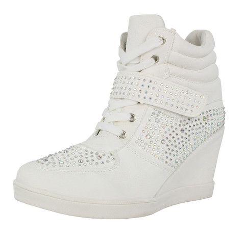 Adelle high heel diamante wedge hi top