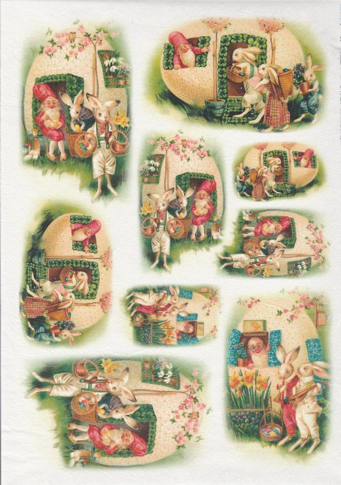Rice Paper for Decoupage Decopatch Scrapbook Craft Vintage Easter Bunny
