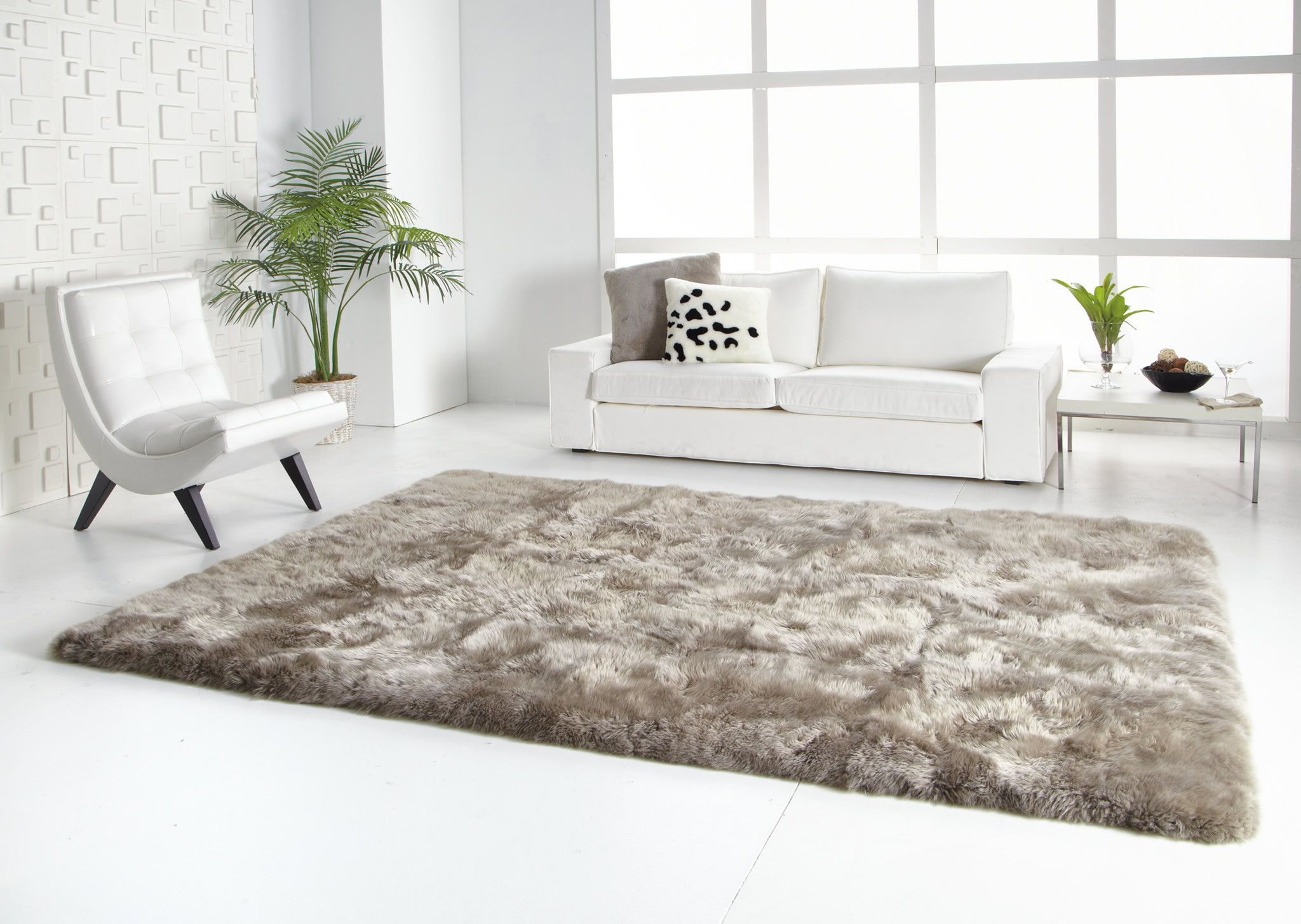 large natural sheepskin area rug with straight edges