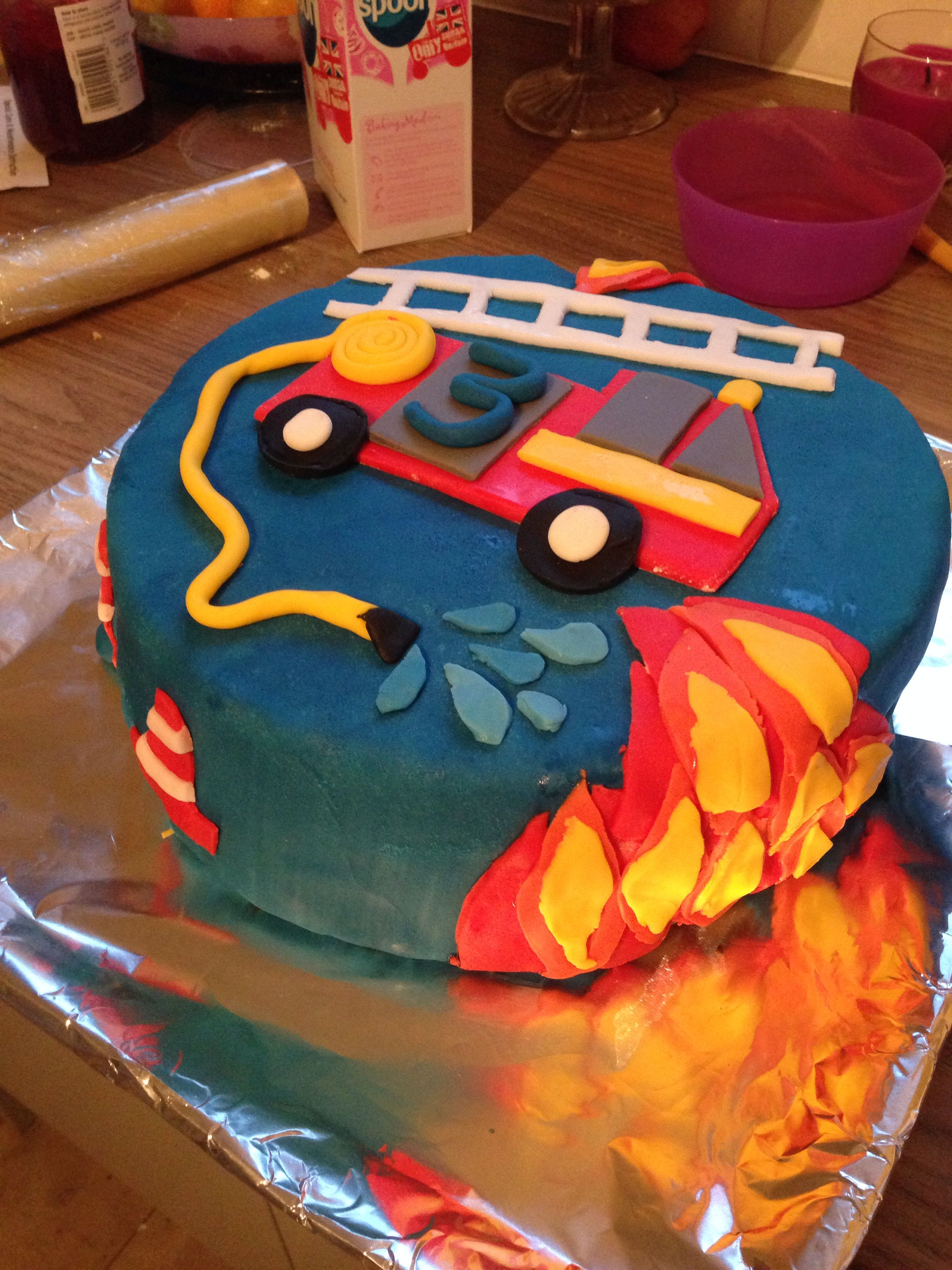 Remarkable Fire Engine Cake Toms 3Rd Birthday Boy Cake With Images 3Rd Personalised Birthday Cards Beptaeletsinfo