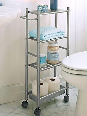 Slim Metal Cart   Small Rolling Cart   Bathroom Storage | Solutions.com