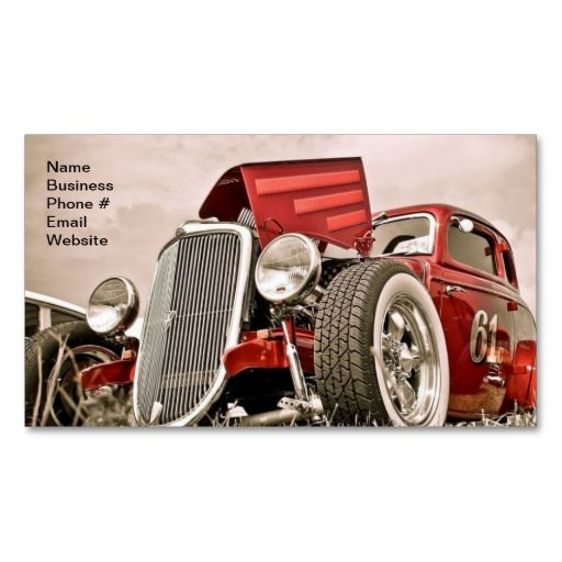 Vintage Classic Collector's Red Car Business Business Card | Zazzle.com