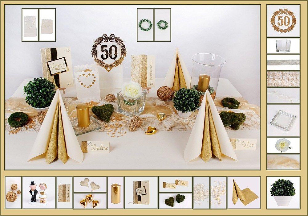Tischdeko Goldene Hochzeit 1 in Creme als Mustertisch  Tafeldekode  Goldene Hochtzeit