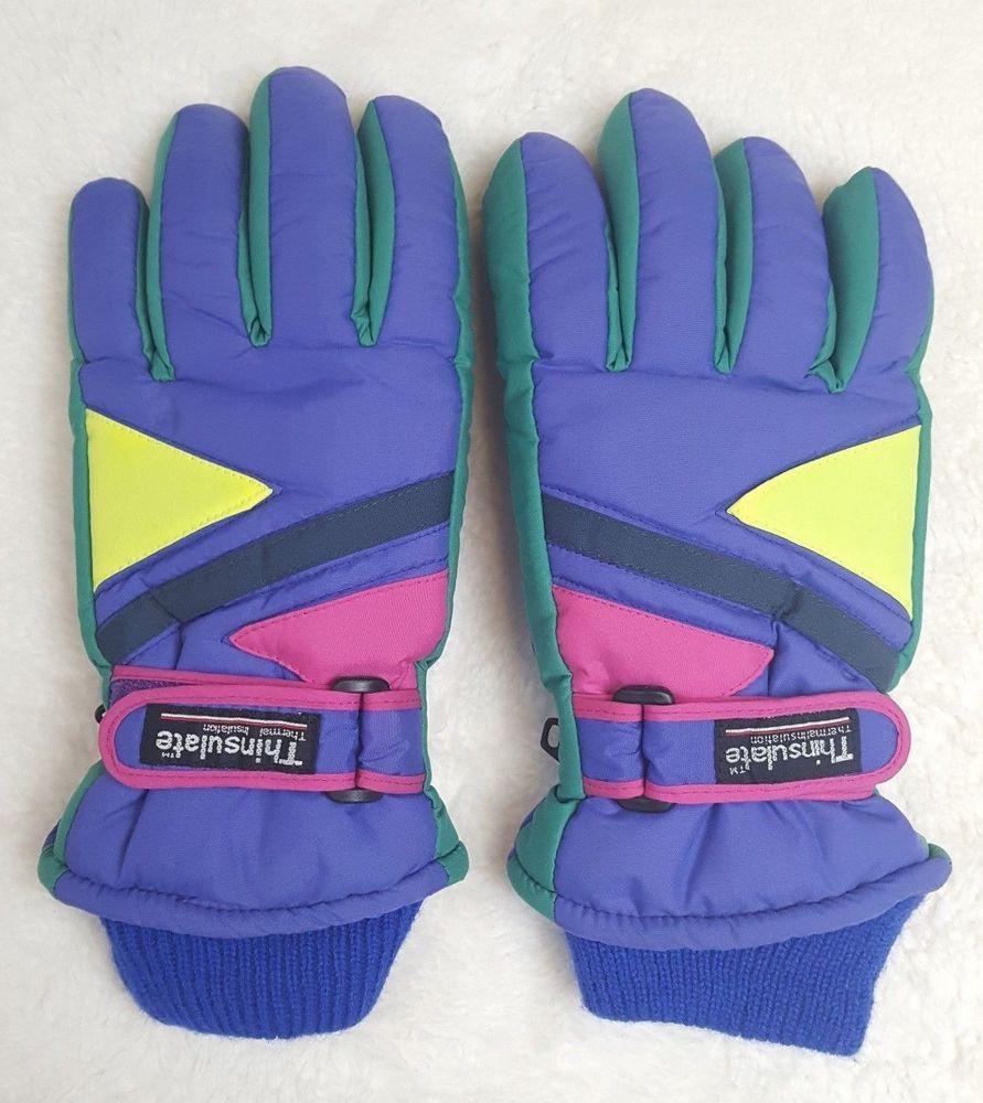 Vintage 80 s 90 s THINSULATE Color Block Neon Winter Ski Gloves Size Medium   Thinsulate  SkiGloves  retroskiwear  colorblock  skiwear  skiapparel  neon  ... d411df26eb436