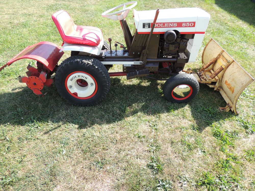 RARE Vintage BOLENS 850 LAWN & GARDEN Tractor,WITH ATACHMENTS LOOKS & RUNS  GOOD #Bolens