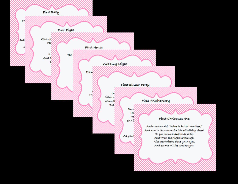 Bridal Shower Wine Basket Poems in Pink Stripes. $10.00, via Etsy.