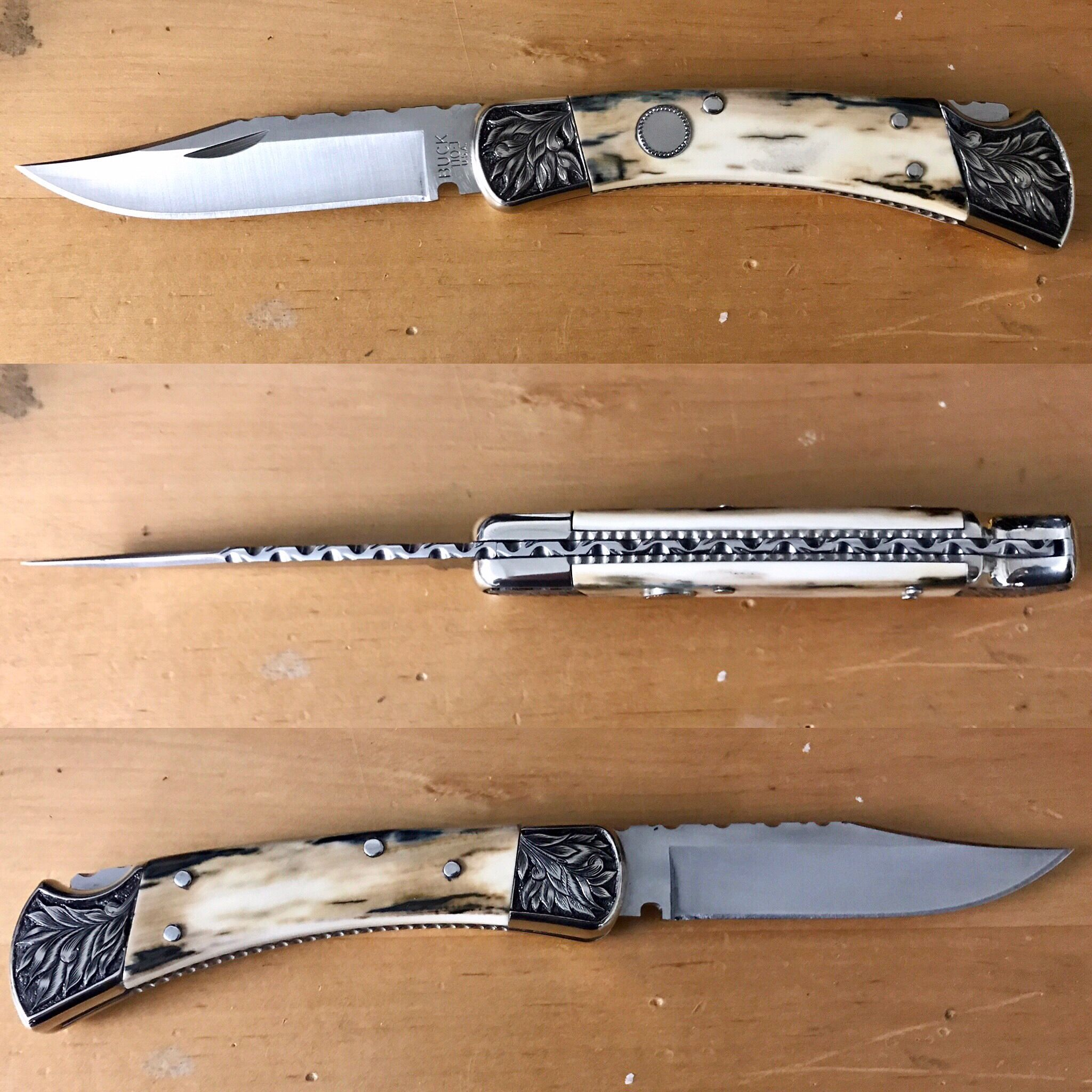 Customized Buck 110 D/A model with custom hand done handle scales