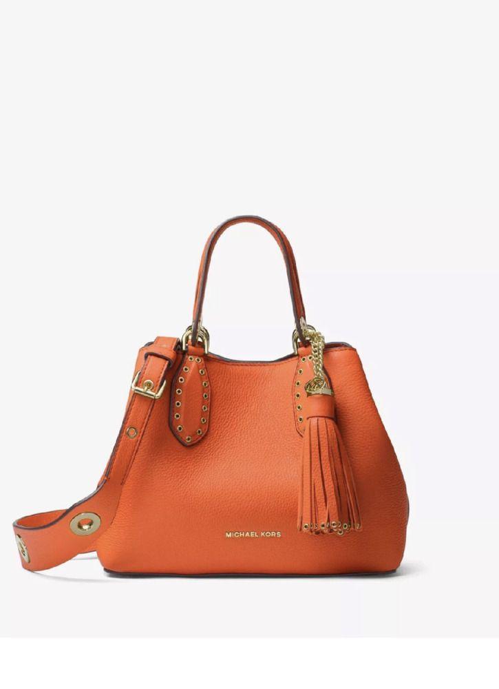 7c24206fa579 New Michael Kors Tangerine Orange Brooklyn Small Leather Tote Satchel Bag- NWT