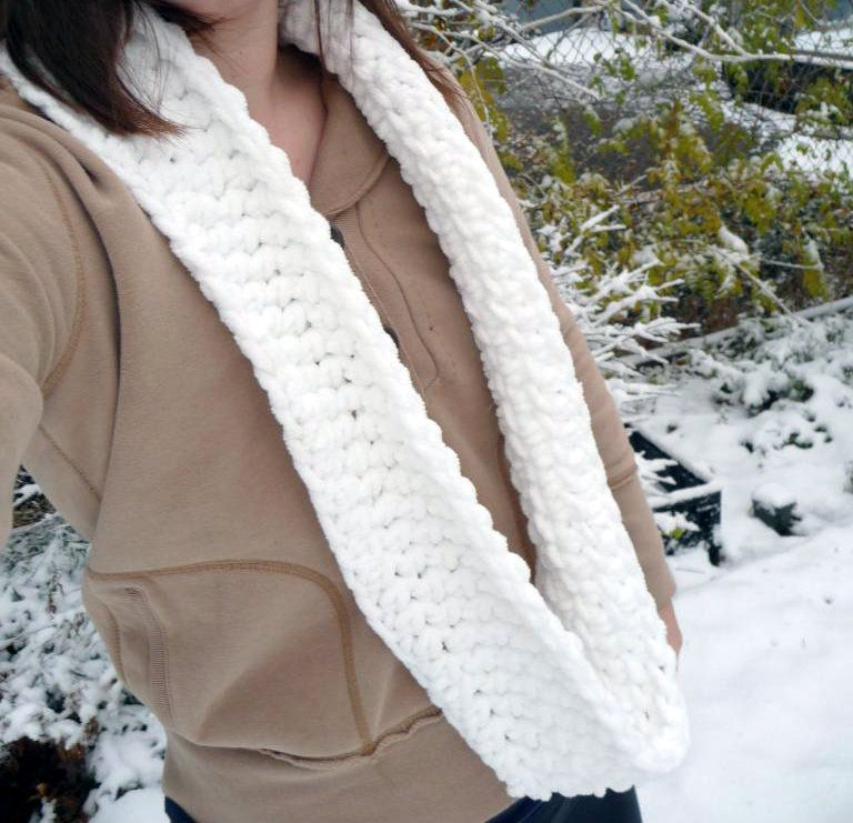 Domestic Bliss Squared Chunky Circle Scarf A Free Beginner Crochet