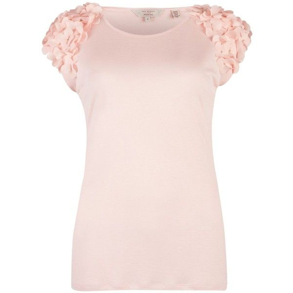 Ted Baker Anissa Flower detail top ($67) ❤ liked on Polyvore featuring tops, shirts, blusas, blouses, t-shirts, light pink, women, flower shirt, flower print shirt and floral shirt