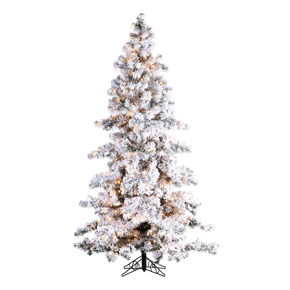 sterling 7 12 ft pre lit flocked spruce artificial christmas tree