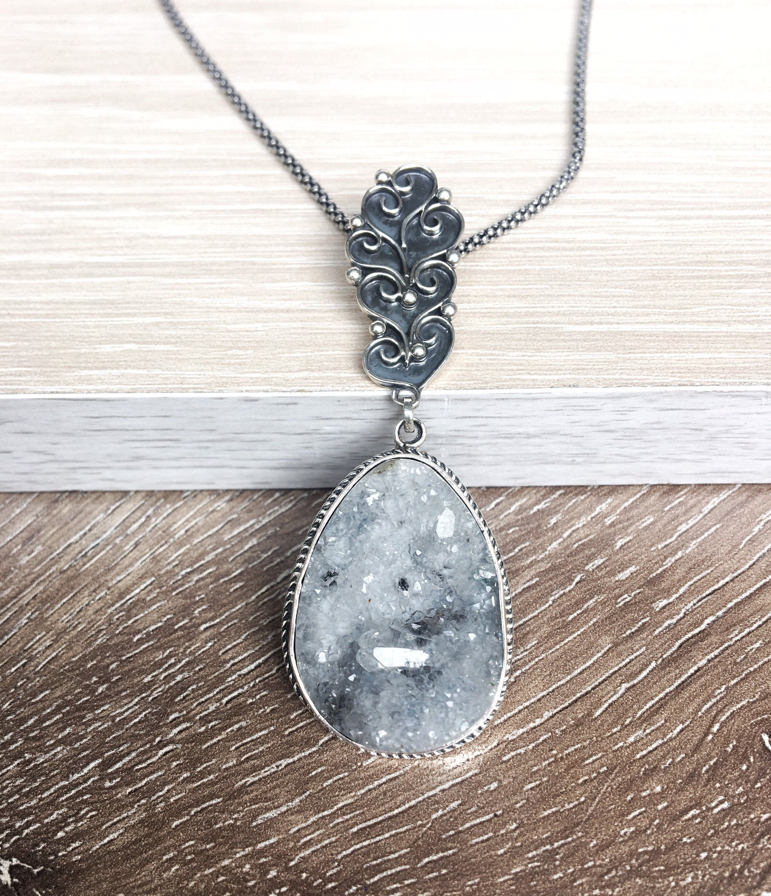 Agate Crystal Silver Pendant Oxidized Silver Necklace With Agate Stone For Girls Gray Stone Pendant Gemstone Silver Pendants Armenia In 2020 Oxidized Silver Necklace Agate Crystal Oxidised Silver Jewelry