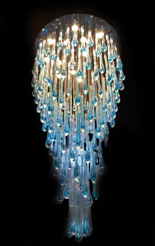 Blue Rainfall Murano Glass Chandelier Murano Glass Chandelier