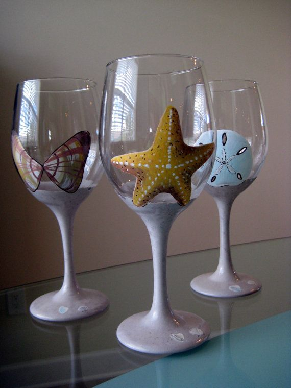 Hand Painted Sea Shell wine glasses by lgrn22 on Etsy, $1.00