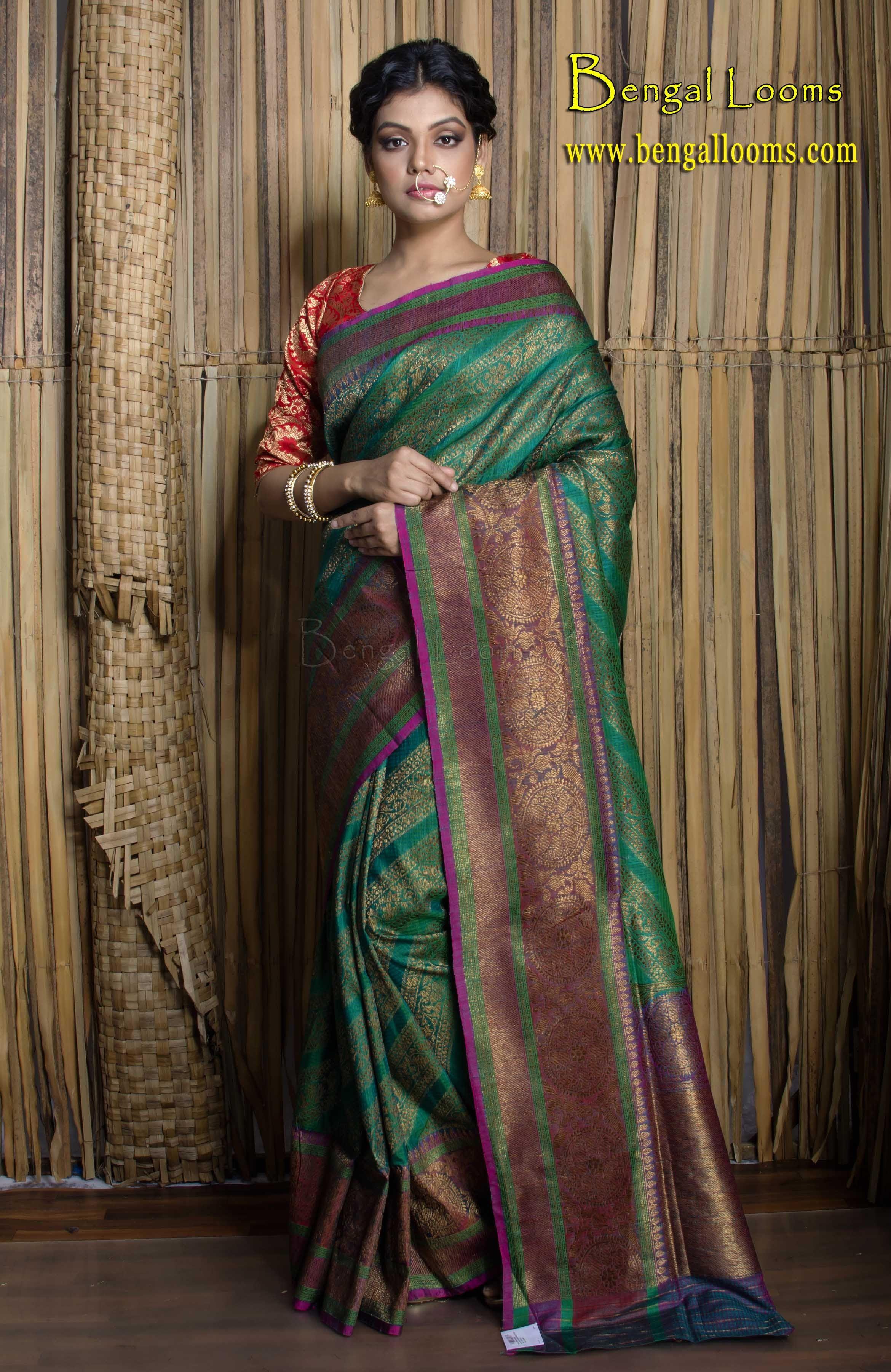 8650c3e700 Brocade Tussar Banarasi Silk Saree in Emerald Green and Antique Gold ...